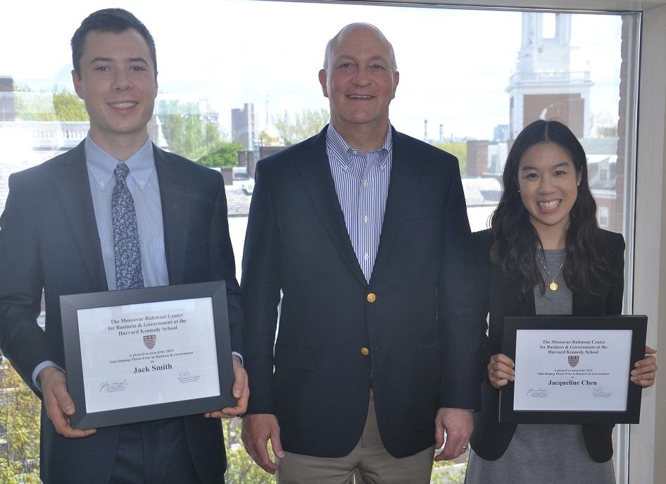 2019 Dunlop Prize winners Jack Smith and Jacqueline Chen with M-RCBG Co-Director John Haigh