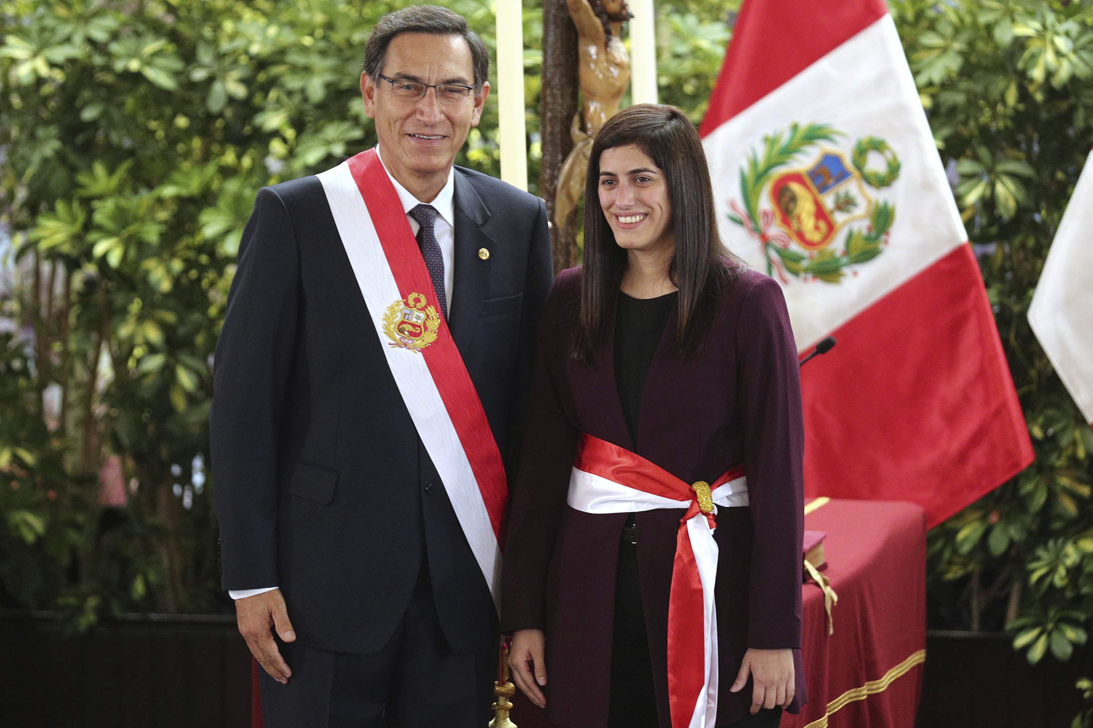 MPA/ID Alumna Toni Alva poses with President Martin Vizcarra after being sworn in as Finance Minister.