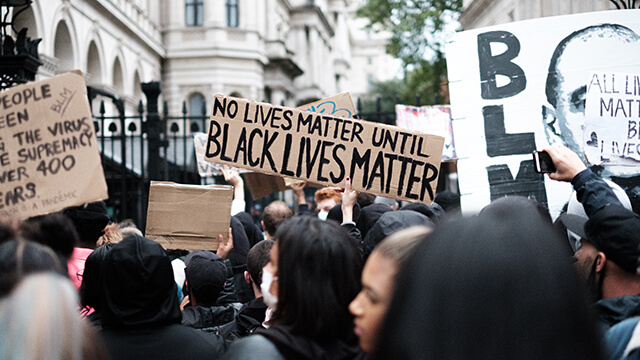 A crowd at a London Black Lives Matter peaceful protest.