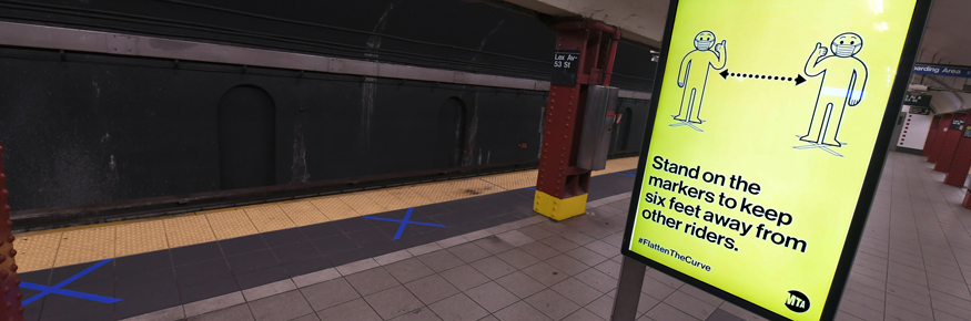 social distancing measures for NYC subway station