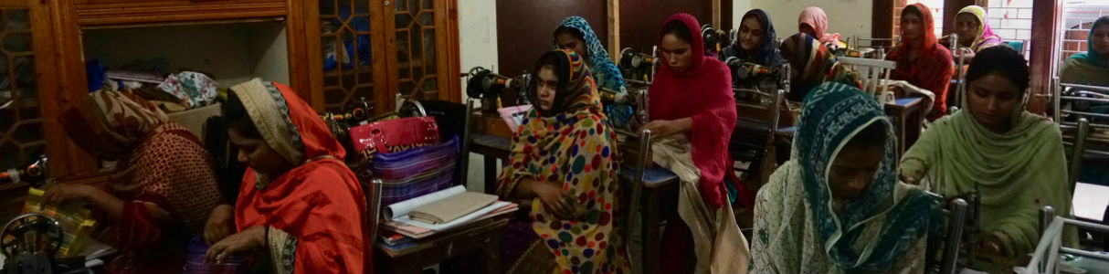 Women in sewing class as part of skills training n Punjab, Pakistan
