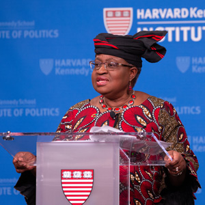 Dr. Ngozi Okonjo-Iweala speaking at a podium