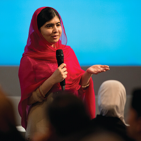 Malala Yousafzai speaking at an event