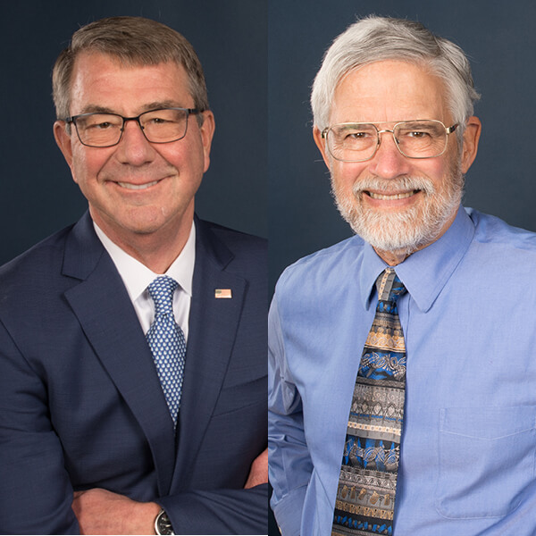 Headshots of Ash Carter and John Holdren side by side