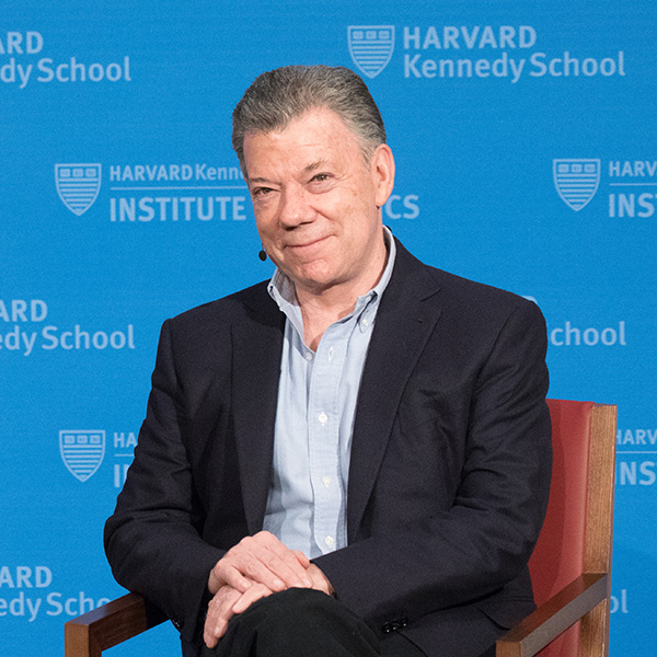 Photo of Juan Manuel Santos in the JFK Jr. Forum