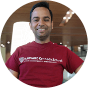 Ankur Dhanuka wearing a Harvard Kennedy School t-shirt.
