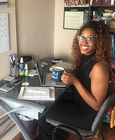Alexis Farmer at her remote-work desk.