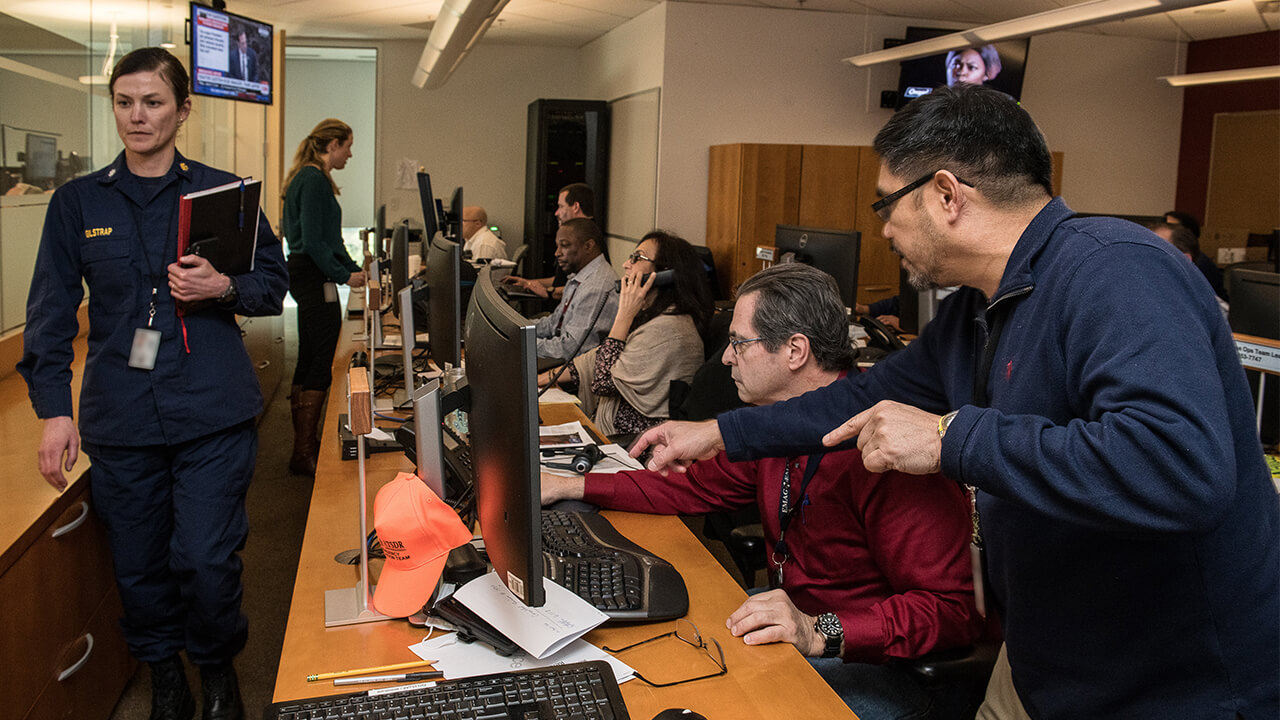 Centers for Disease Control and Prevention (CDC) staff support the 2019 nCoV response in the CDC's Emergency Operations Center (EOC)