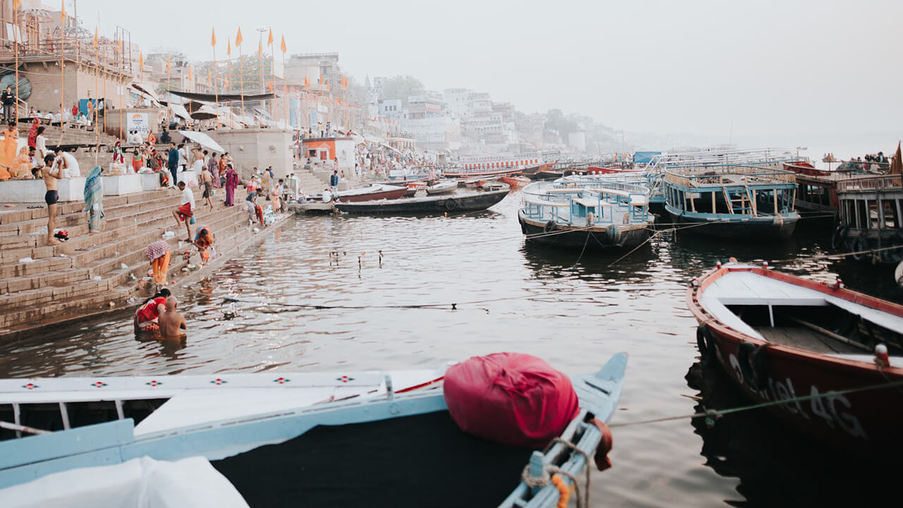 View at the banks of the Ganges river in India.
