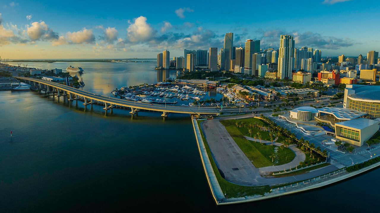 Wide-angle shot of the Miami Skyline.