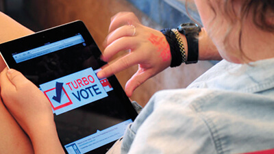 A student using the TurboVote app