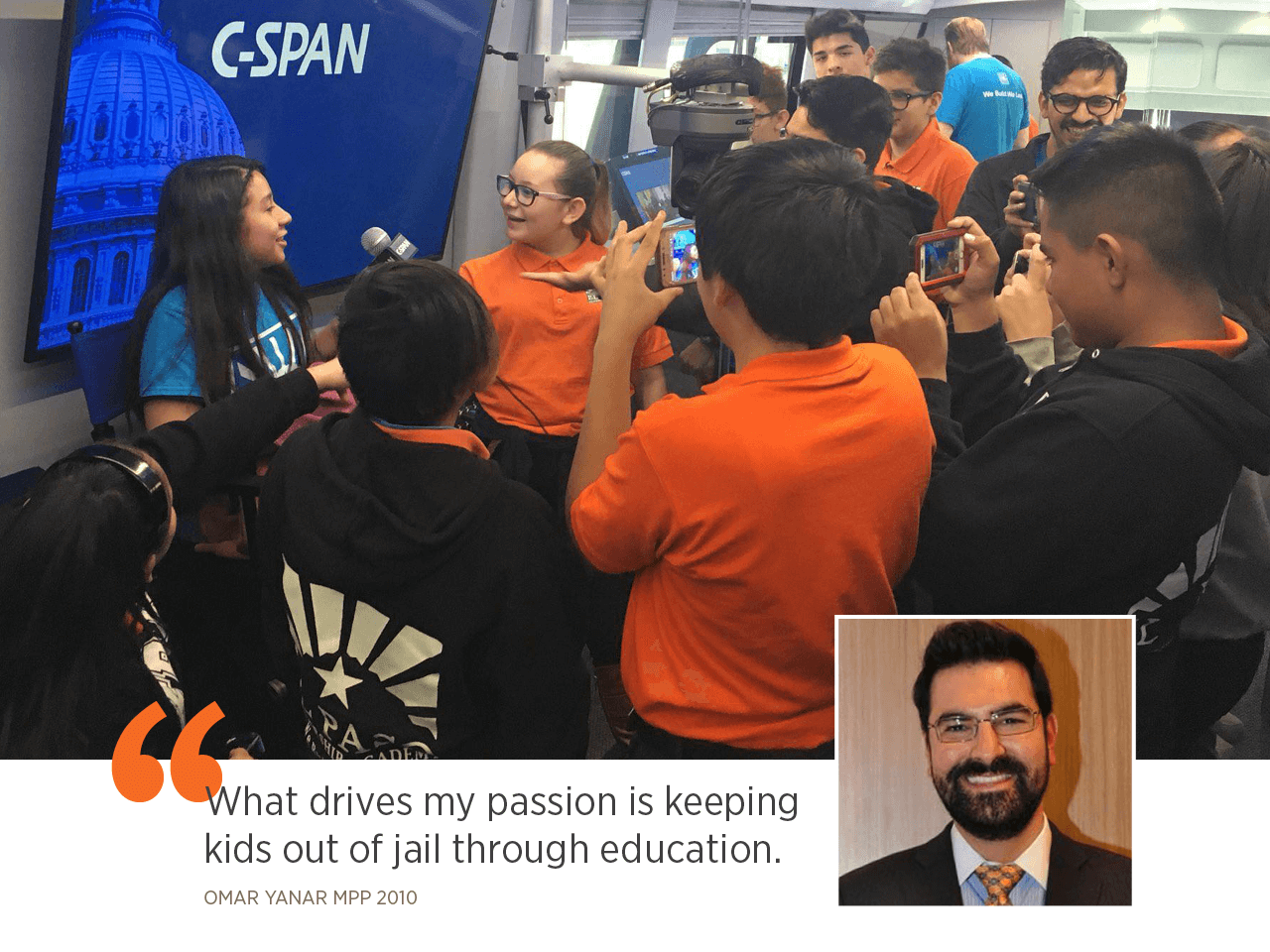 Omar Yanar MPP 2010 (inset, above) says students of the El Paso Leadership Academy are taught a set of core values: collaboration, responsibility, smarts, humility, and hunger.