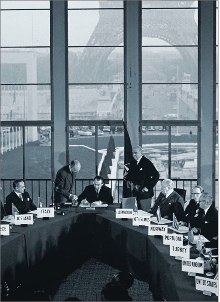 A photo of the signing of the Paris Agreements October 23, 1954.