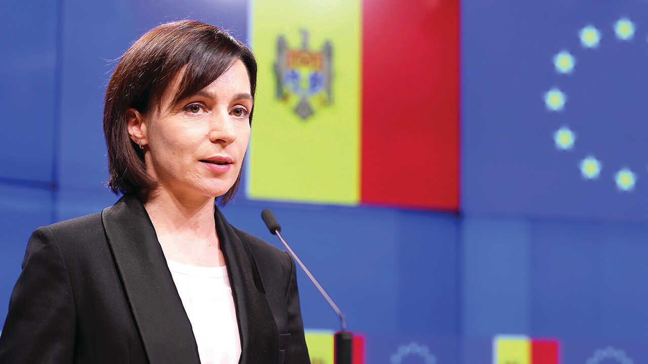 Former Prime Minister of Moldova Maia Sandu at a press conference in Brussels, Belgium.