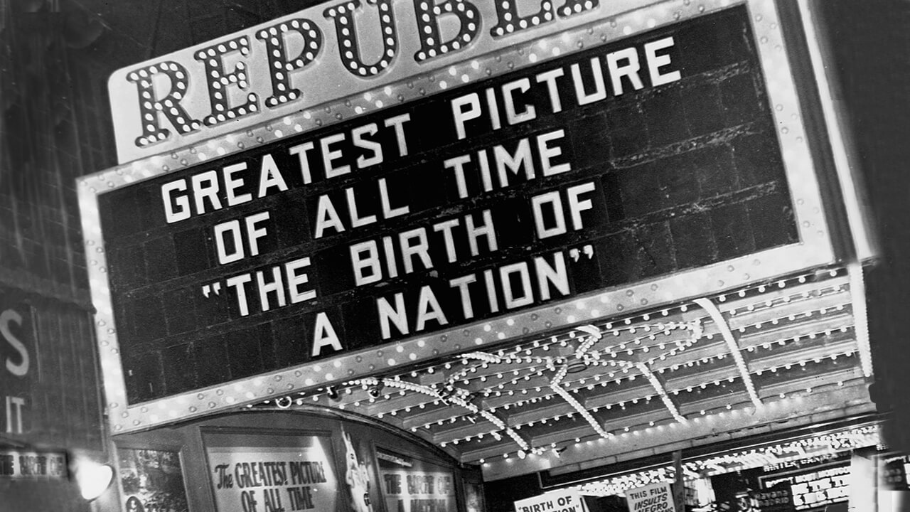 Theater marquee promotes Birth of a Nation.